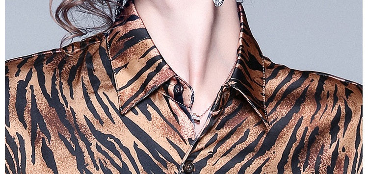 European style lady shirt--loose--zebra printed--black brown--HCX-8008 703