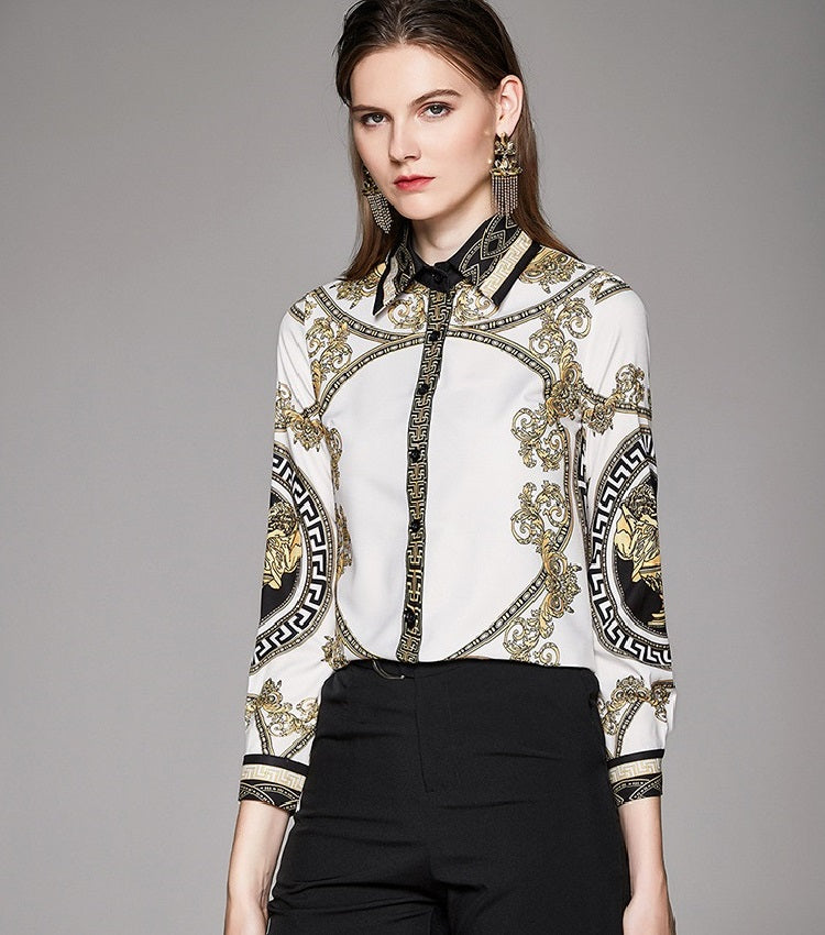 European style lady fit shirt--pattern printed--green white--YNSHCH-320211