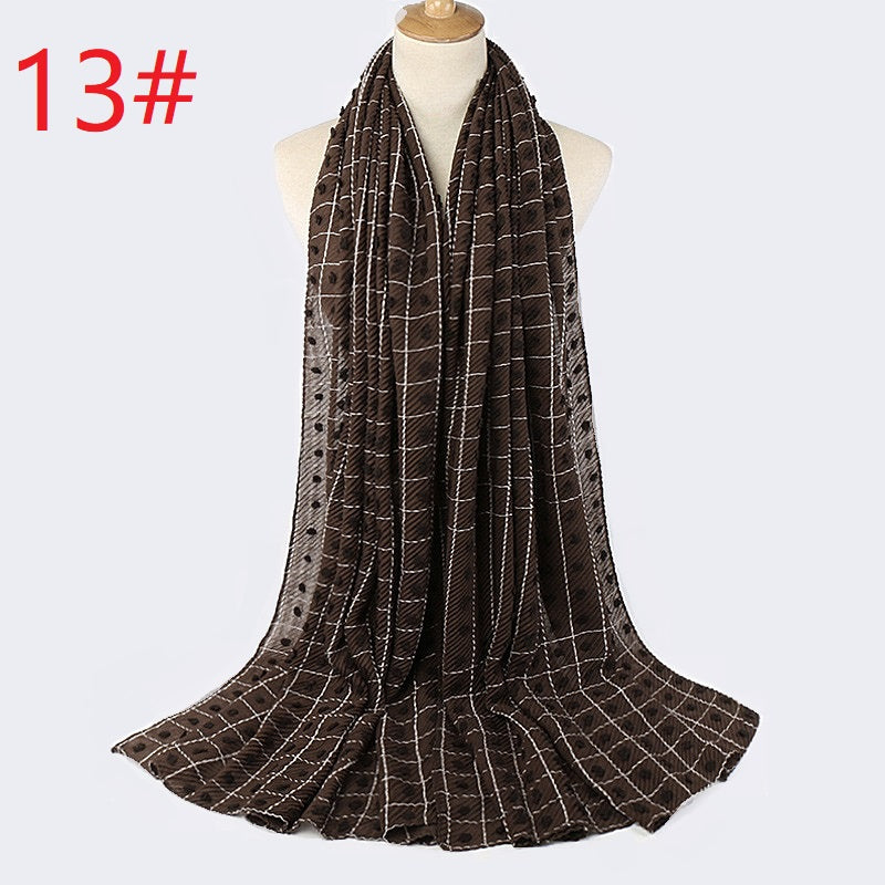 15 colors--chequer--cotton scarf,shawl, muslim hijab AW-VS167