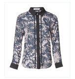 European style lady shirt--fit--pattern printed--blue black--HCX-5168 510