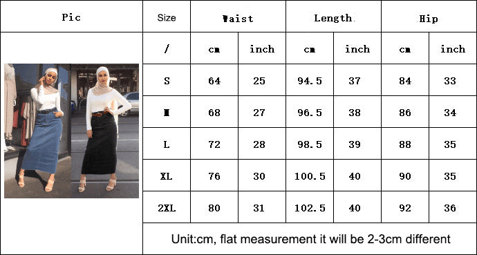 Woman lady muslim-black, blue-floor length-high quality elastic sheath jean skirt LAY-SK9033