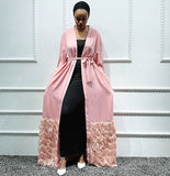 Muslim abaya long cardigan dress--black,red,pink--patchwork HMTLR207