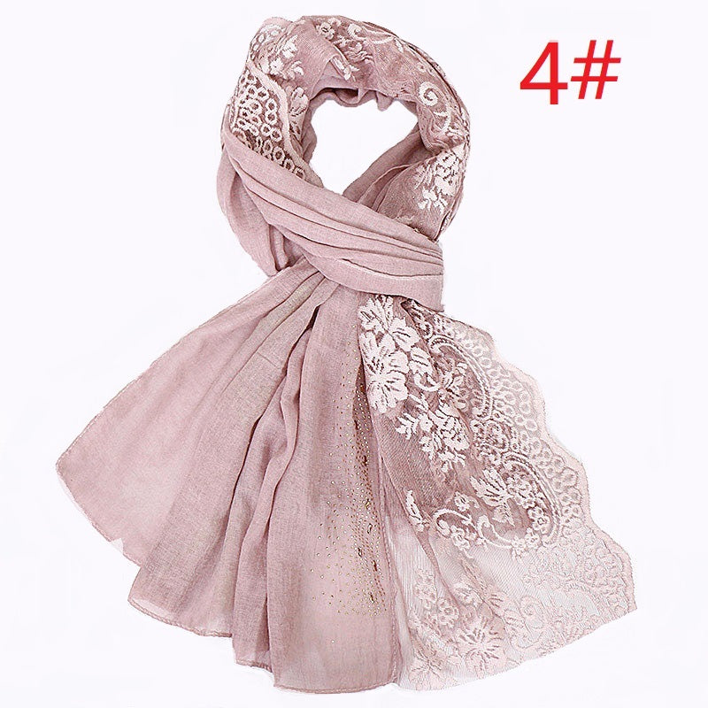 12 colors--flower lace attached--glitter stone--cotton scarf,shawl, muslim hijab AW-VS121