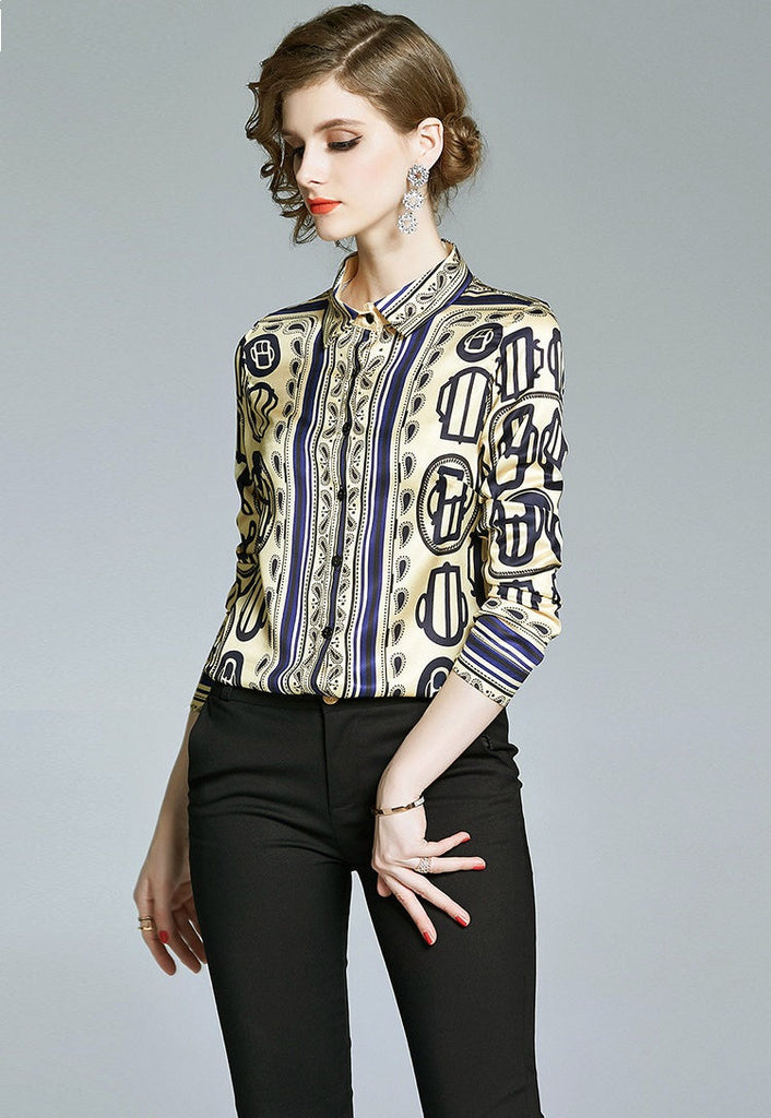 European style lady shirt--fit--pattern printed--blue yellow--YNSHCH-111007