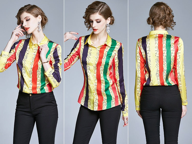 European style lady shirt--fit--strip printed--red green yellow--YNSHCH-110907