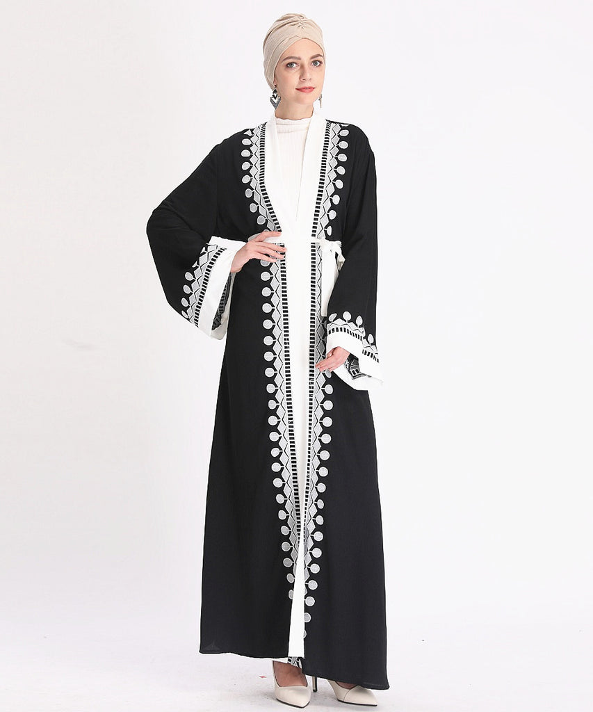 Muslim lady high quality abaya long cardigan--black,pink--embroidary--white patchwork  LR333