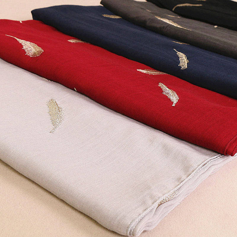 14 colors--feather--embroidered--cotton scarf,shawl, muslim hijab AW-VS102