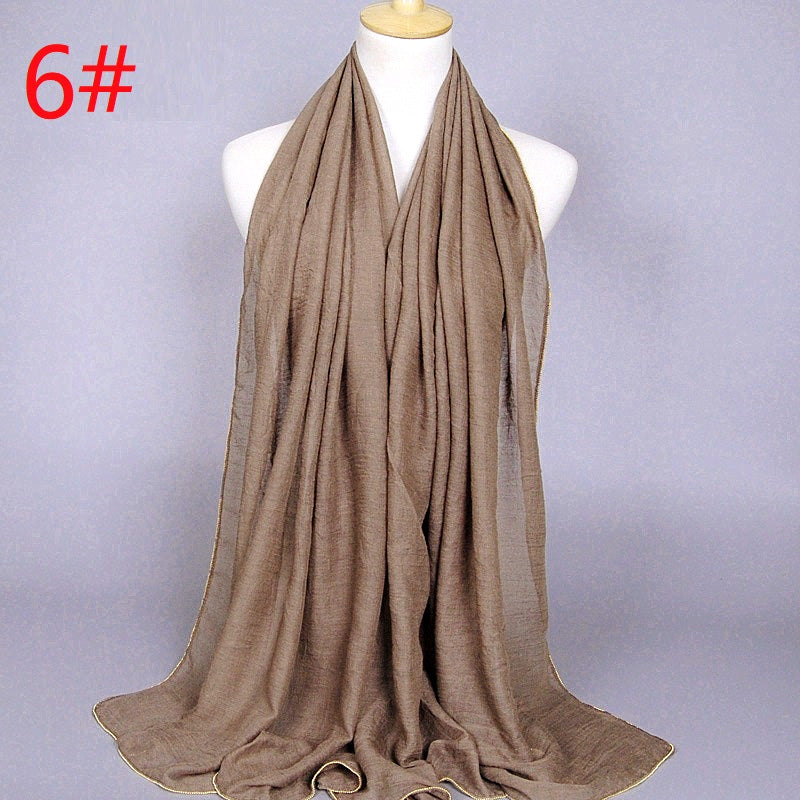 13 colors--metal beads attached--cotton scarf,shawl, muslim hijab AW-YW17