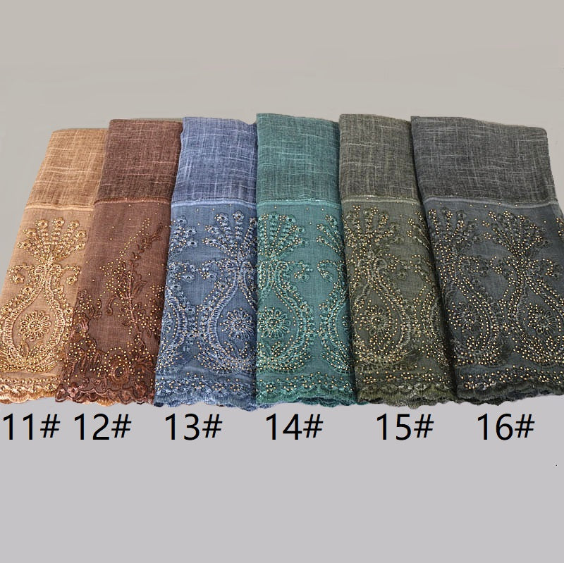 16 colors--lace attached--glitter stone--cotton scarf,shawl, muslim hijab AW-VS051