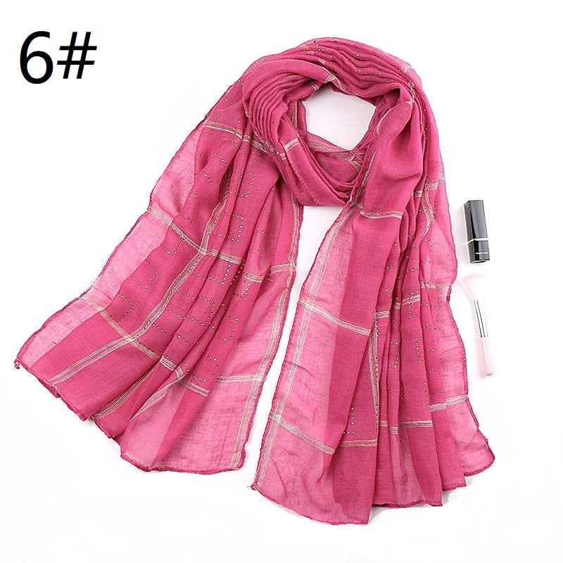 16 colors--chequer--glitter stone--cotton scarf,shawl, muslim hijab AW-VS168