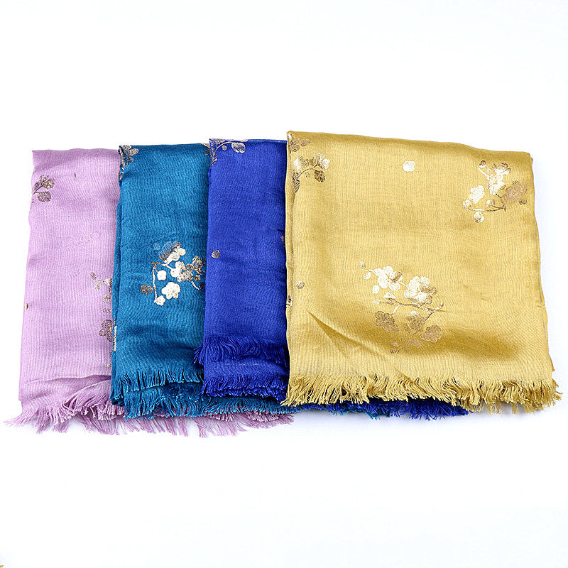 16 colors--hot stamping--cotton scarf,shawl, muslim hijab AW-VS163