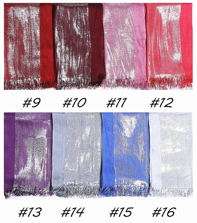 16 colors-shinning silver metallic yarn--cotton scarf,shawl, muslim hijab  AW-YW99