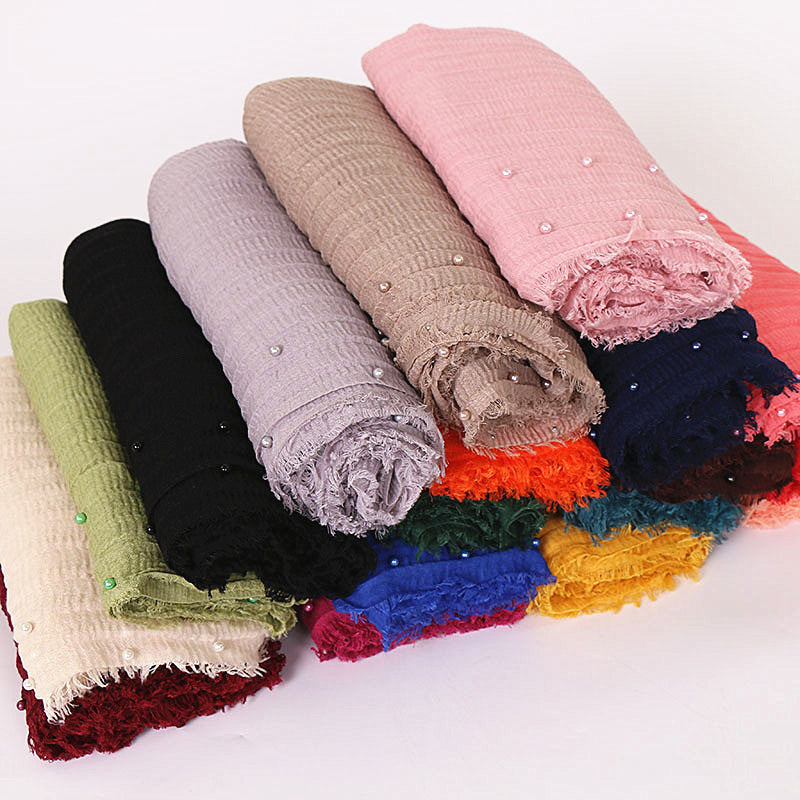 18 colors--wrinkle--pearl--cotton scarf,shawl, muslim hijab  AW-VS088