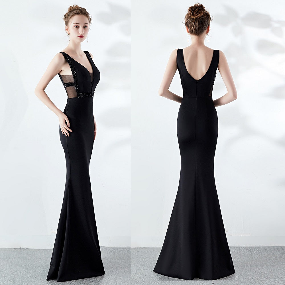 long fish-tail party prom dress--deep V--sleeveless--hand-made beads--black,navy blue--KLN-1260#-3