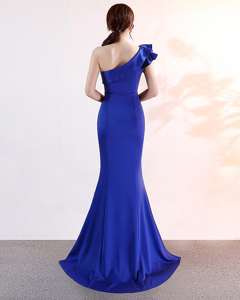 black, royal blue-slopeing shoulder--sleeveless--side slit--long fish-tail sheath party prom dress KLN-16023#-6
