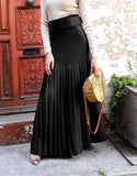 High quality pleated sheath maxi skirt--black,red--floor length LAY-SK9037