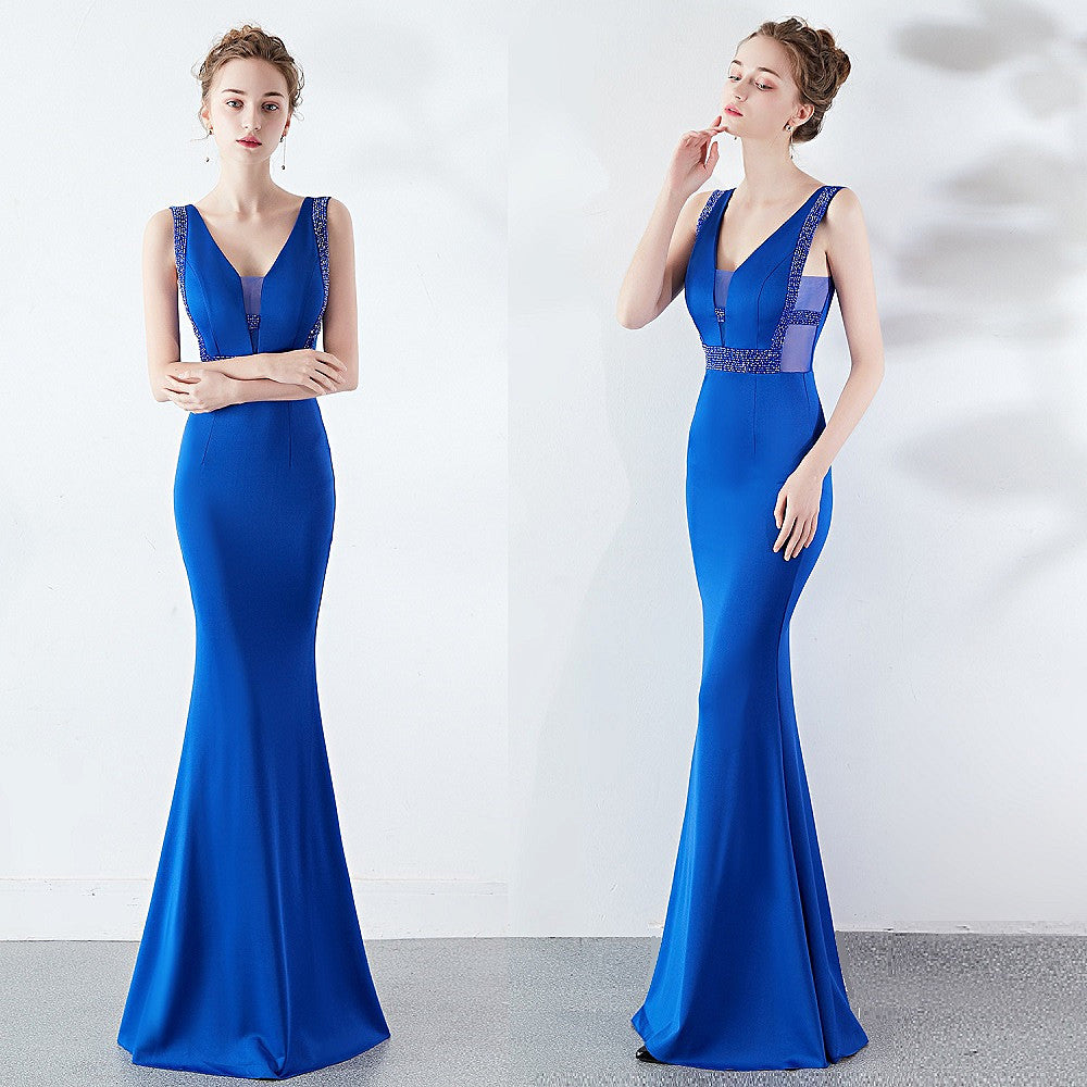 long fish-tail party prom dress--deep V--sleeveless--hand-made beads--white, royal blue--KLN-1260#-1