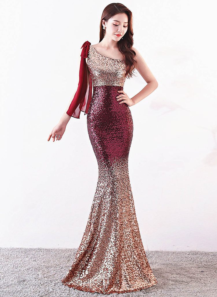 Long fish-tail sheath party prom dress--gradient sequins--bare shoulder--burgundy red, golden, navy blue--KLN-8118