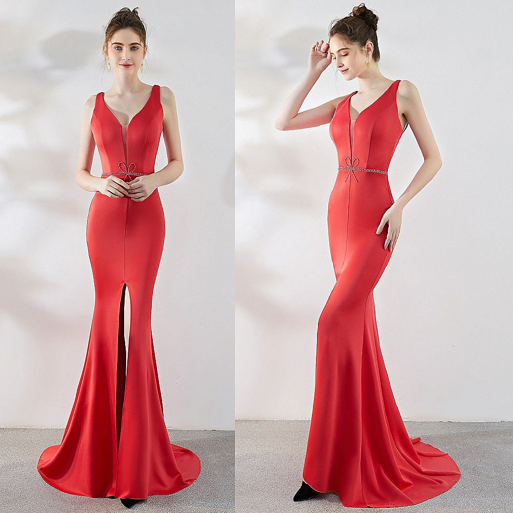 long fish--tail sheath party prom dress--sleeveless--front slit--black,burgundy red,watermelon red--KLN-1219#-2