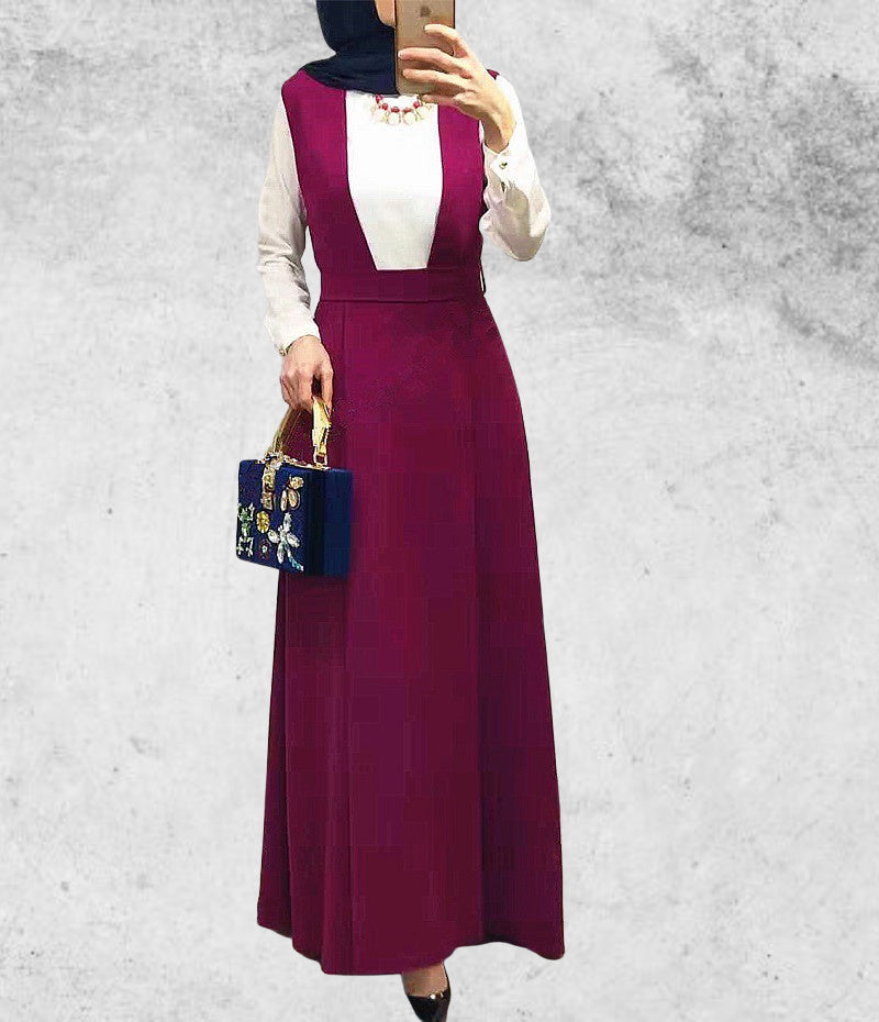 Woman lady muslim--3 colors--floor length--high quality suspender skirt SK9025
