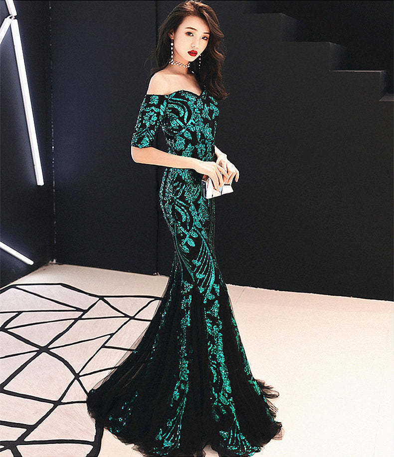 long fish-tail sheath party prom dress--sequins--off the shoulder--black,green--KLN-16036#-1