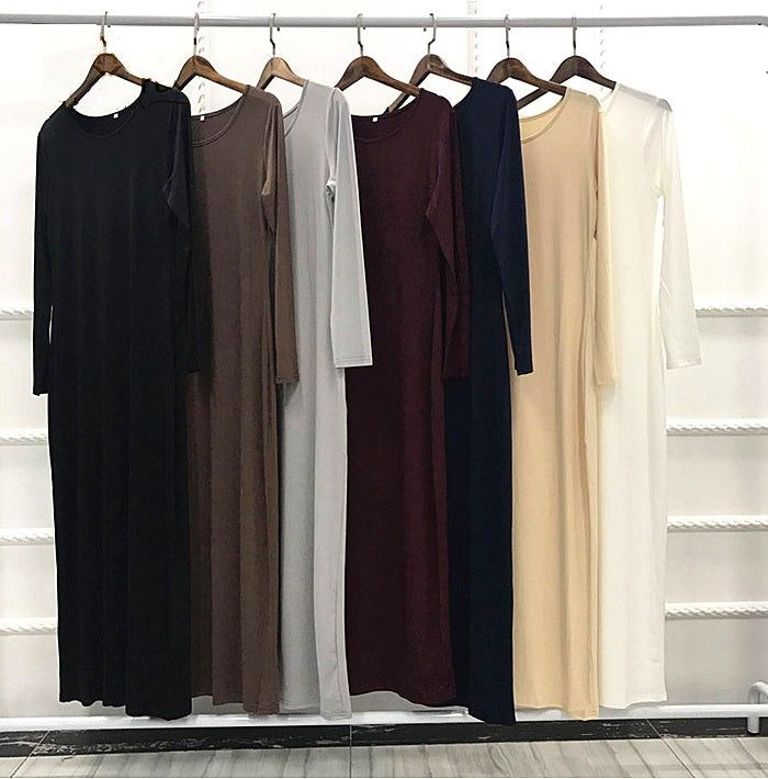 Lady women muslim--6 colors--plain elastic--floor length--long sleeves--long fit sheath dress LR61
