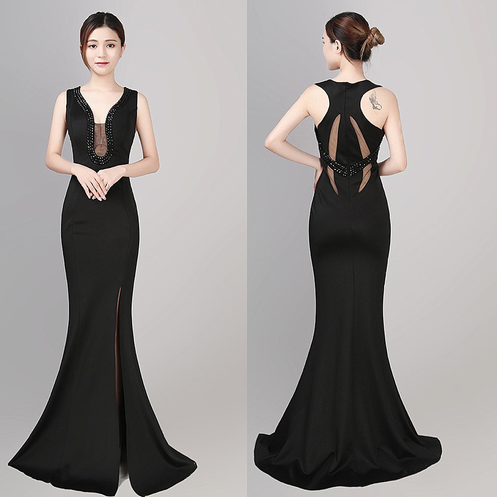 long fish-tail sheath party prom dress--black, red, blue, white-beads-side slit-sleeveless--KLN-1493#