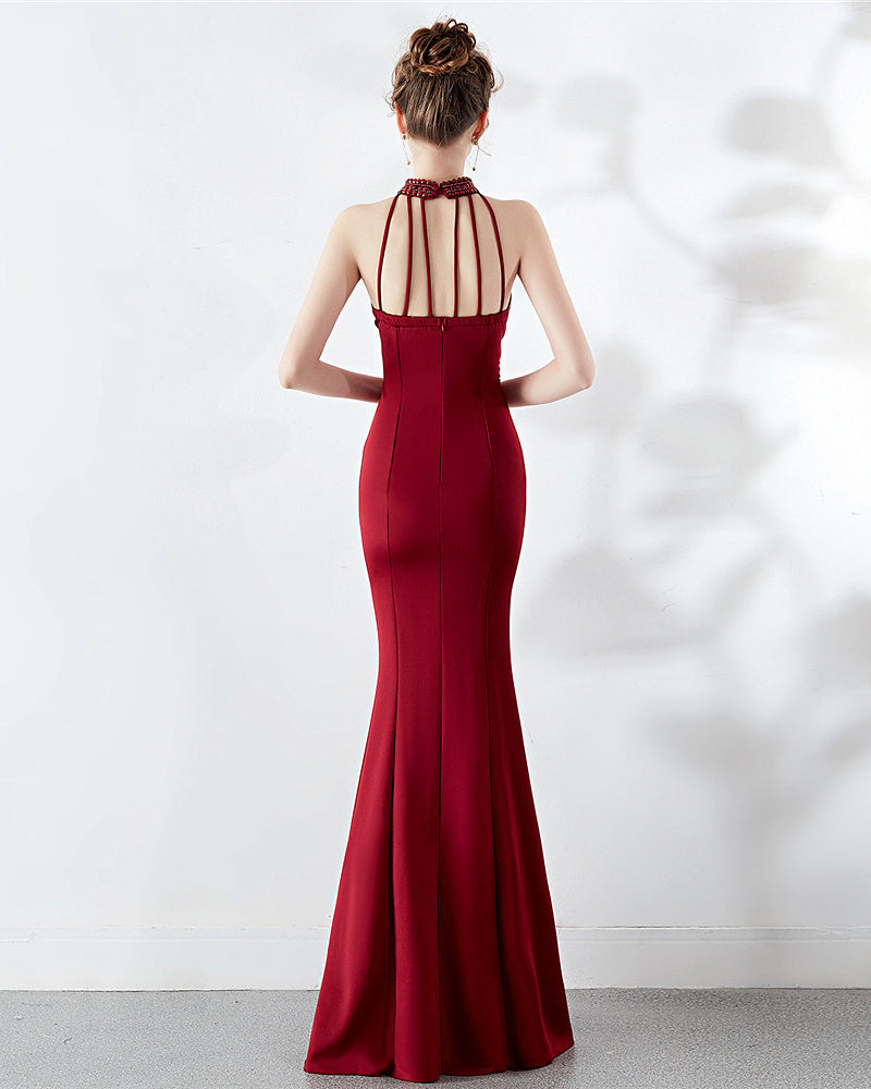 long fish-tail sheath party prom dress--sleeveless--side slit--burgundy red, white pink,red--KLN-8637#-2