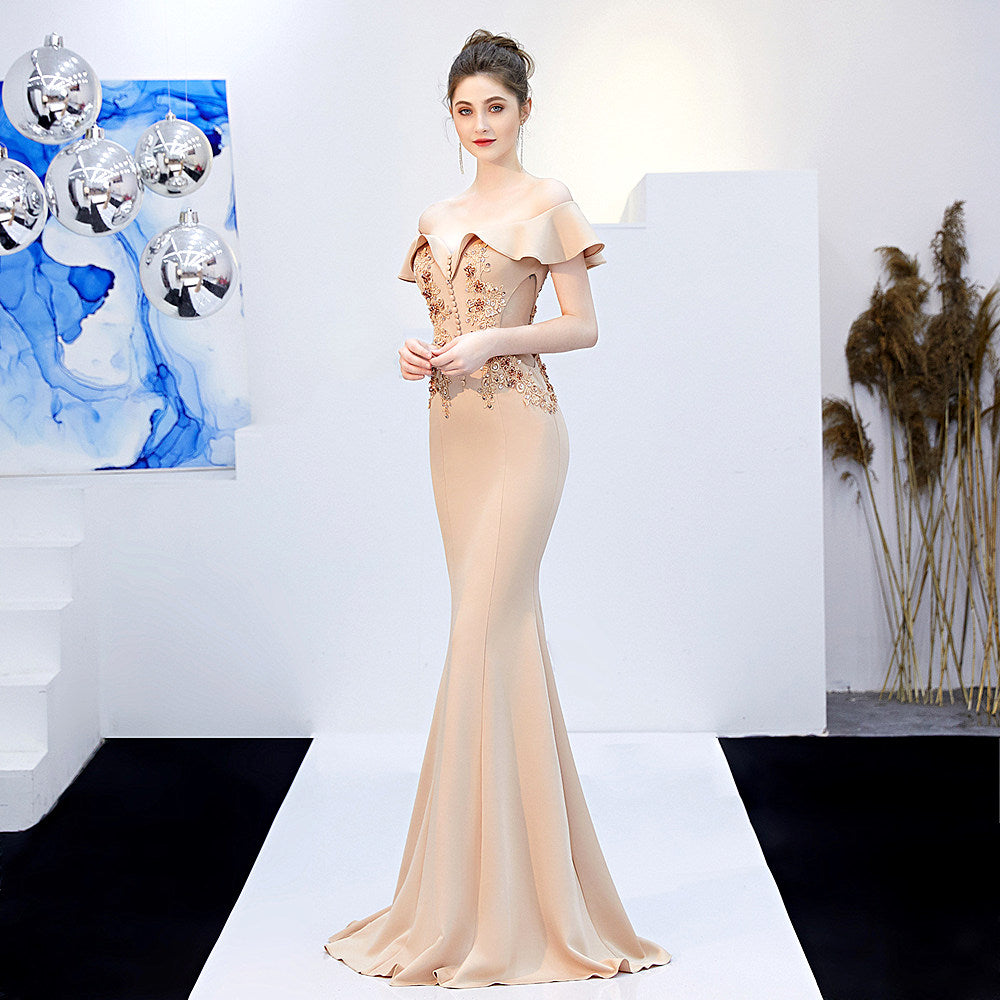 High Quality Party Prom Dress--Short Ruffle Sleeves--Boat Neck bare shoulder--Long Fish Tail--blue,champagne,white-lace beads--KLN-16268#-2