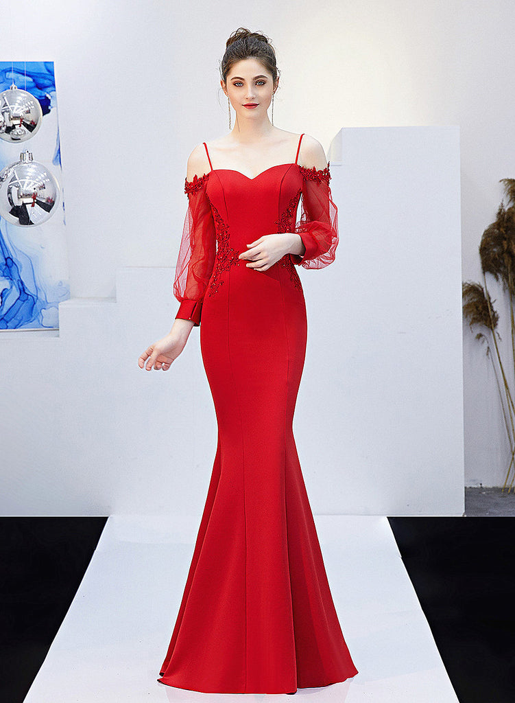 Sexy Long Fish-Tail sheath Party Prom Dress--see-through back and sleeves--embroidered Flowers--black,Red,Burgundy Red,Navy blue--KLN-0801#