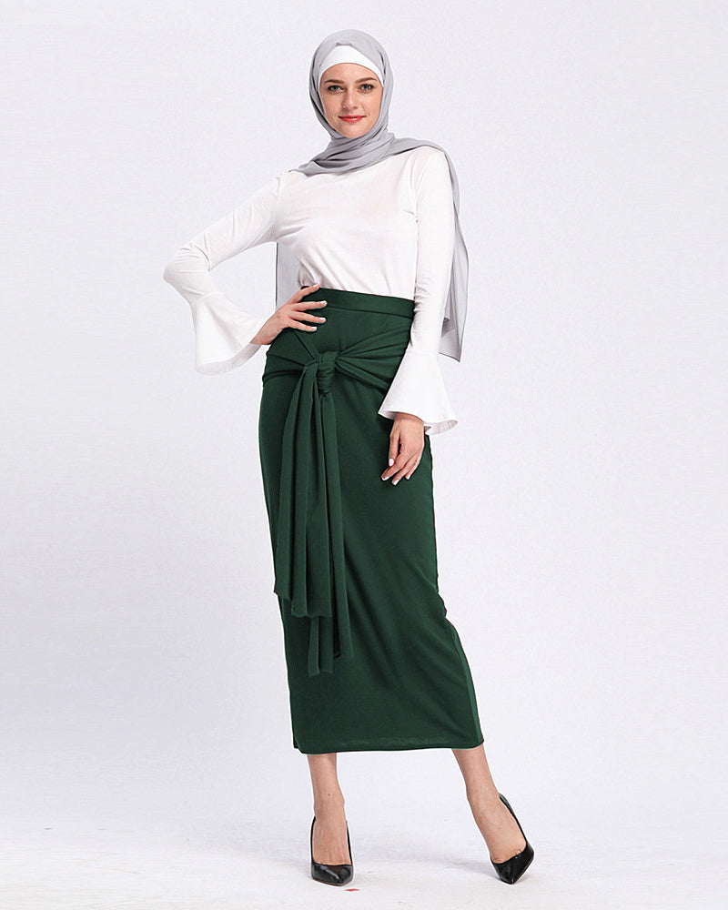 Woman lady muslim-black,green,burgundy red,beige-floor length-high quality A-line skirt LAY-SK9019