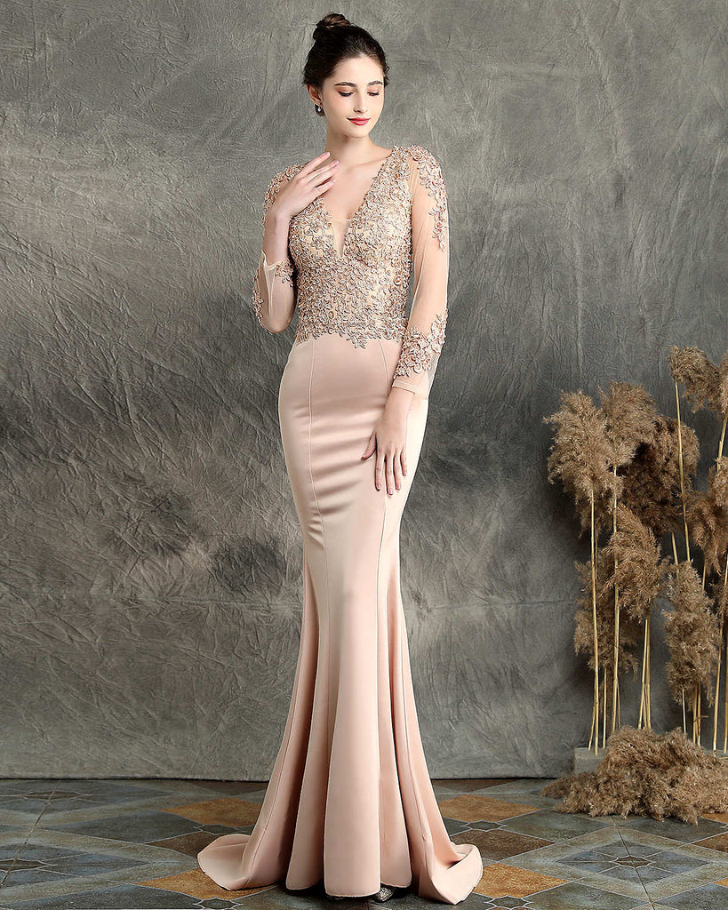 Long fish-tail party prom dress--3D cut--embroided flowers--black,green, burgundy red,apricot,navy blue-KLN-16357#