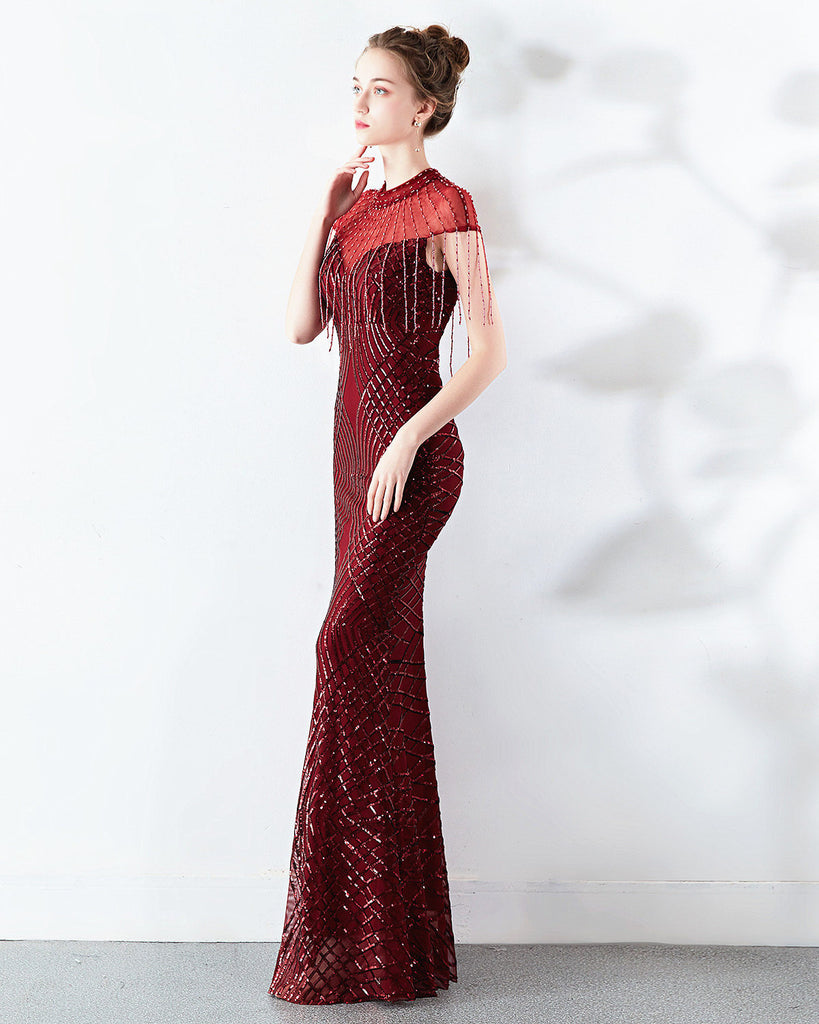 long fish-tail party prom dress--beads sequins--sleeveless--black,red,burgundy red,champagne,navy blue--KLN-1586#