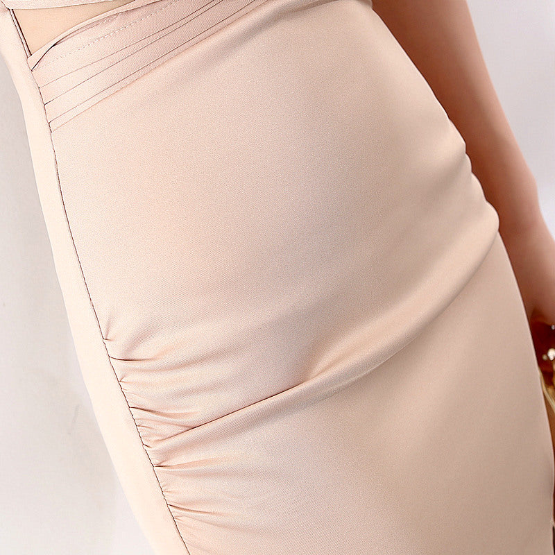 long fish-tail sheath party prom dress--deep V-side slit--glitter stone--white,pink,champagne,burgundy-KLN-16025#-2