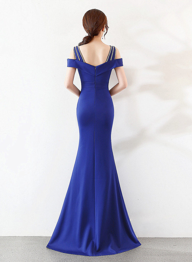 long fish-tail sheath party prom dress--strip shoulder--royal blue, navy blue--KLN-16016#