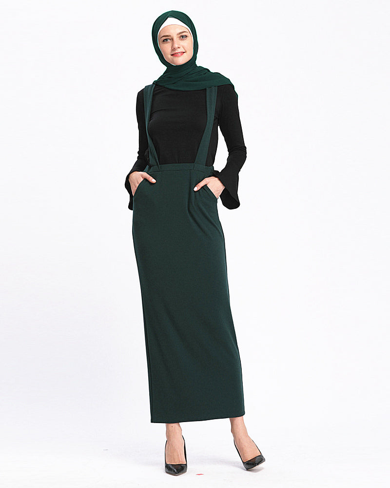 Woman lady muslim-black,white,pink,green,khaki-floor length-high quality suspender skirt LNY-SK9018A