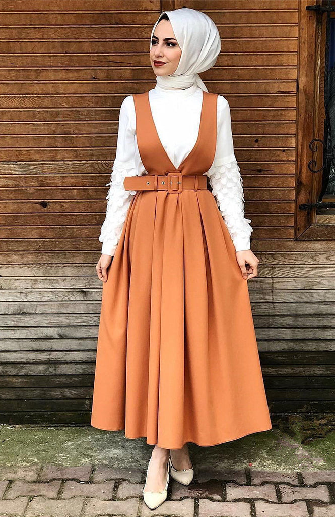 Muslim lady high quality maxi skirt--4 solid color--blue, orange,pink,beige--cotton  SK9031