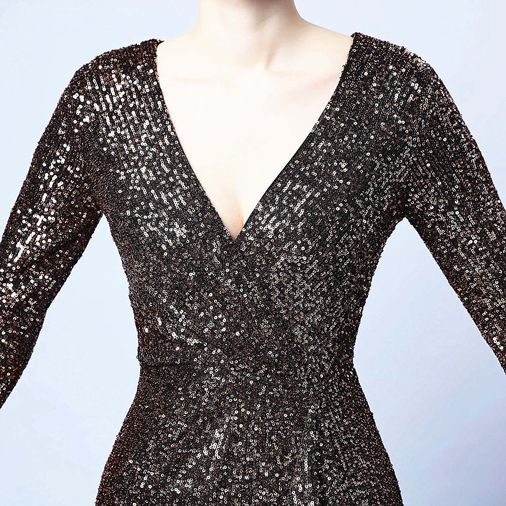 Short sheana party prom dress-sequins-long sleeves-black,brown--KLN-16586#
