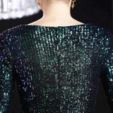 Short sheana party prom dress-sequins-long sleeves-Green-KLN-16586#-1
