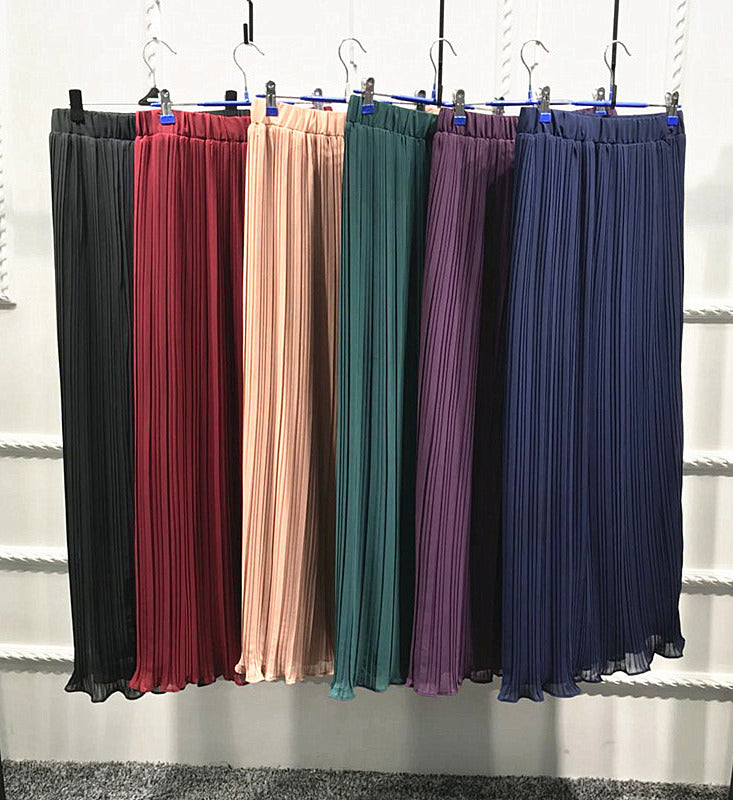 Lady-black,green,burgundy,navy blue,khaki,purple-two-layer chifon-floor length-high quality pleated skirt LAY-SK9017