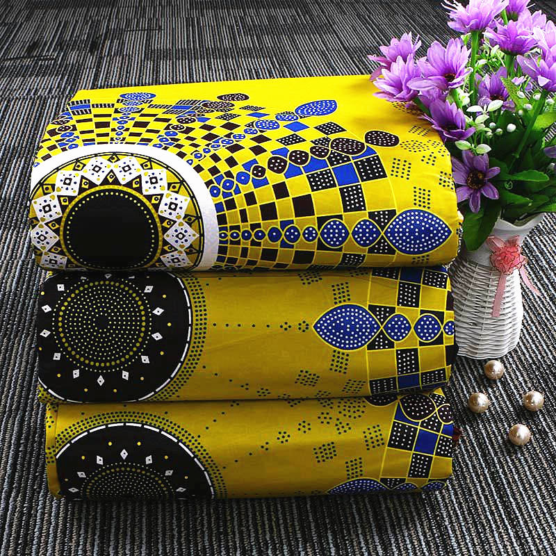6 yard--100% cotton--african real wax geometric printed fabric--blue yellow--24FS1213