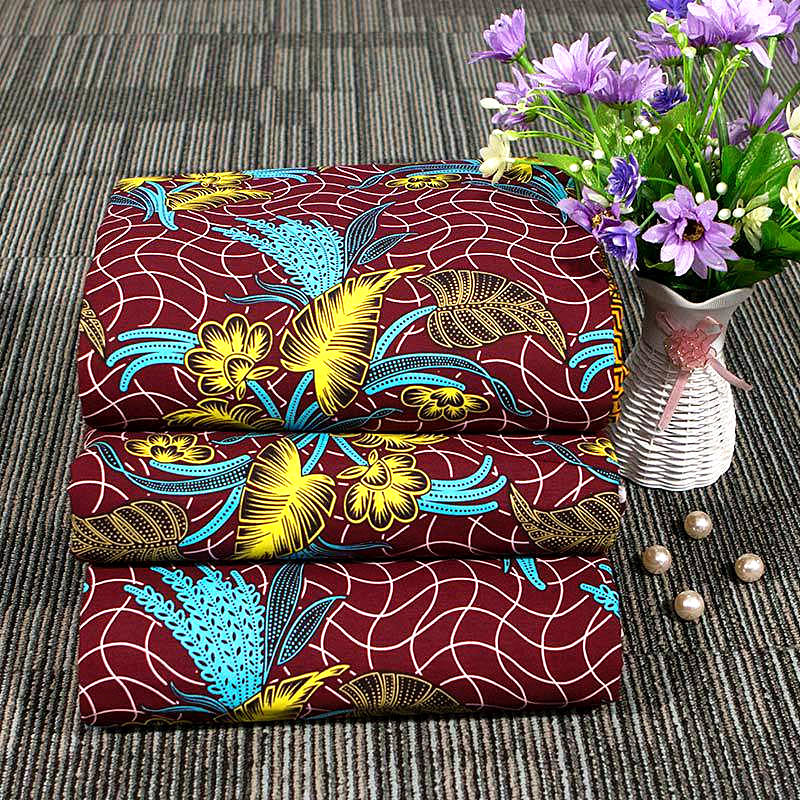 6 yard--100% cotton--super african wax flower printed fabric--blue red--40FS1299