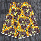 6 yard--100% cotton--super african wax geometric printed fabric--orange yellow--24FS1209