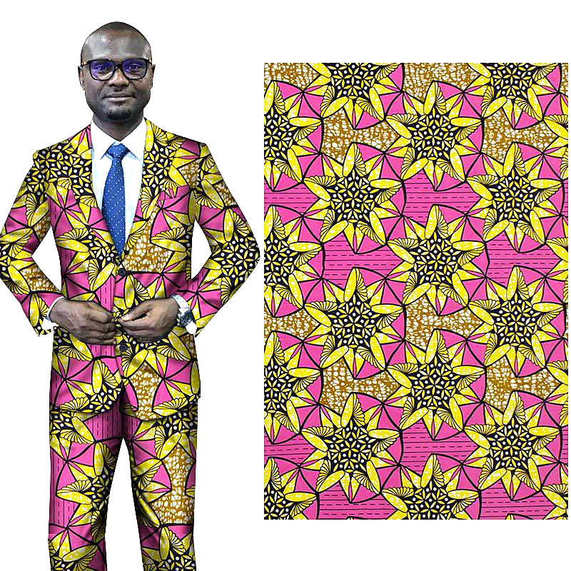 6 yard--100% cotton--super african wax geometric printed fabric--pink yellow--24FS1382