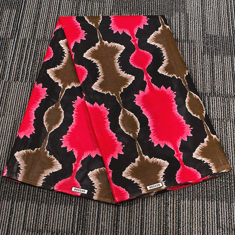 6 yard--100% cotton--super african wax geometric printed fabric--red--24FS1257