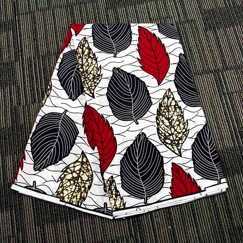 6 yard--100% cotton--super african wax leaves printed fabric--white grey red 24FS1366