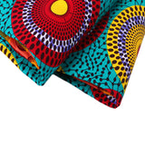 6 yard--100% cotton--super african wax printed fabric--blue red yellow-24FS1214