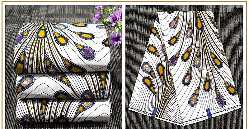 6 yard--100% cotton--super african wax printed fabric--white--24FS1262