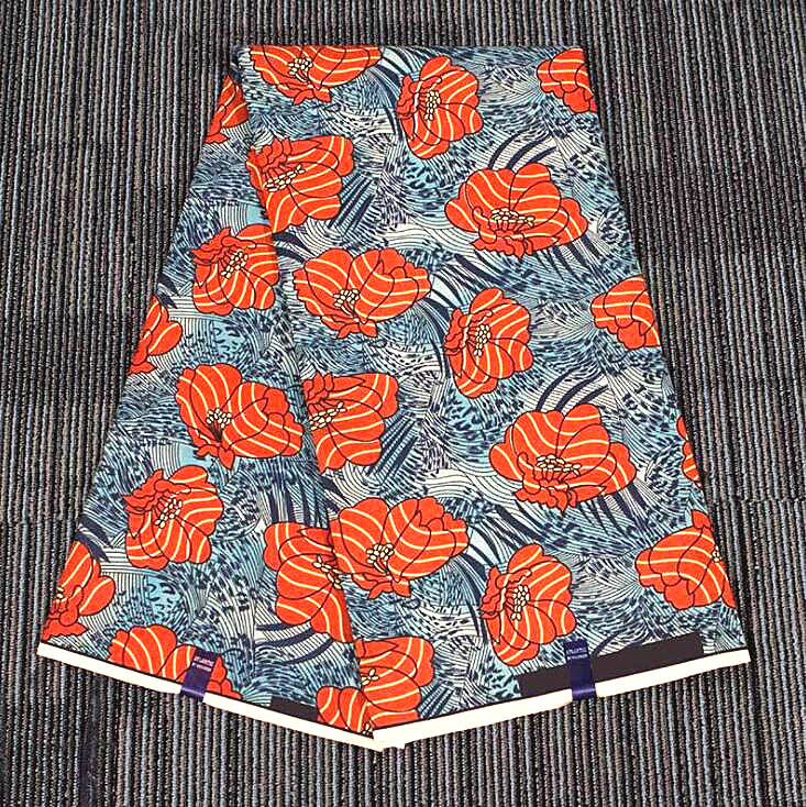 6 yard--wide african flower printed wax peached fabric--polyester--orange--FP6095
