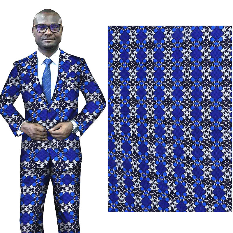 6 yard--wide african geometric printed wax fabric--polyester--blue--FP6022